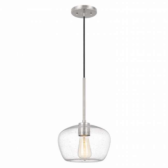 """Hive 1-Light Brushed Nickel Finish Silver Flakes Glass Pendant 10"""" x10""""x 15.5"""""""