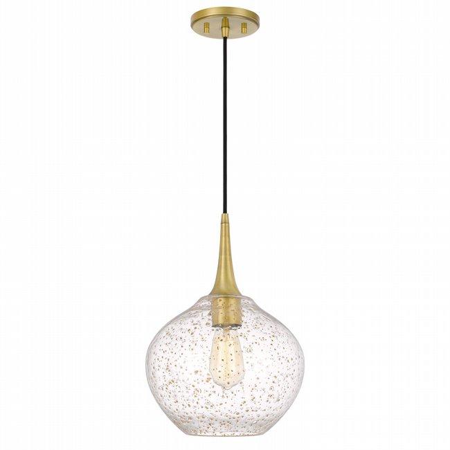 "Hive 1-Light Vintage brass Finish Gold Flakes Glass Pendant 11"" x11""x 15"""