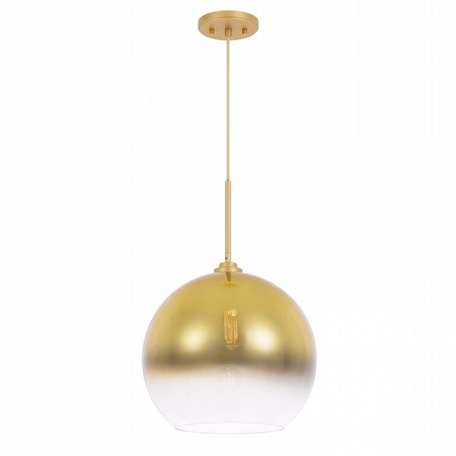 "Phantasm II 1-Light Light Gold Finish Champagne Graduated Color Glass Pendant 10"" x10""x 16"""