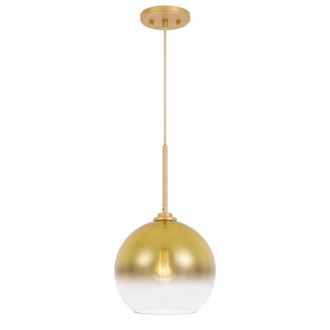 "Phantasm II 1-Light Light Gold Finish Champagne Graduated Color Glass Pendant 14"" x14""x 20"""
