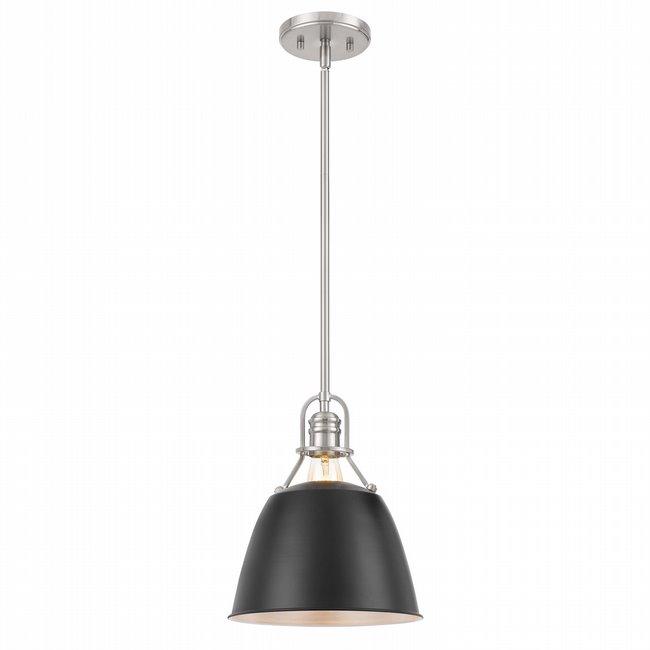 "Helmut 1-Light Brushed Nickel Finish Black shade Pendant 10"" x10""x 12"""
