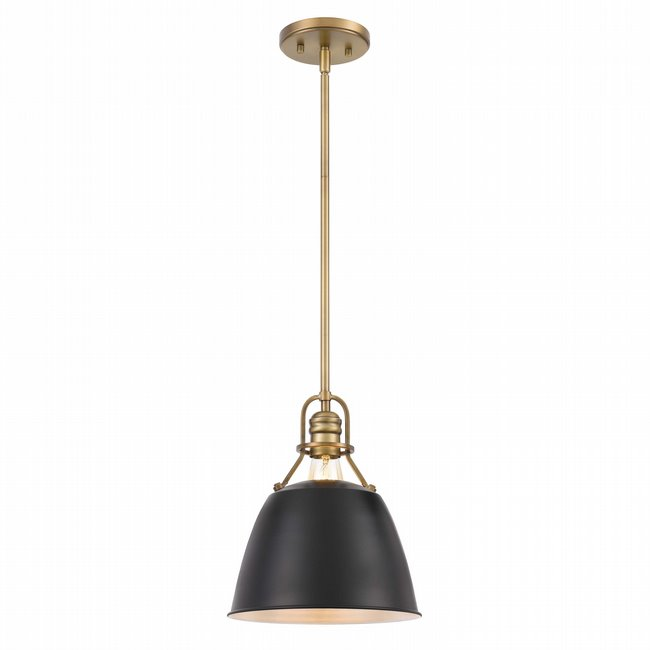 "Helmut 1-Light Vintage Brass Black Shade Pendant 10"" x10""x 12"""