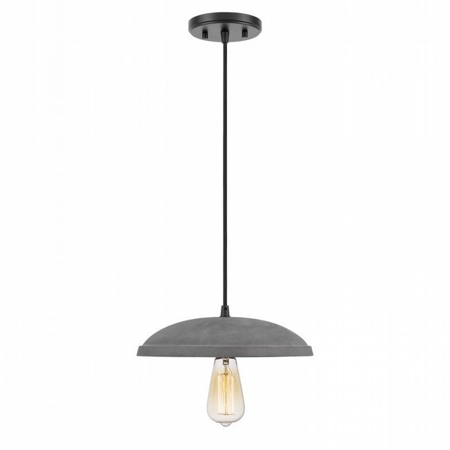 Remington 1-Light Black Finish Concrete Grey Shade Pendant 11.88D X 3.25H