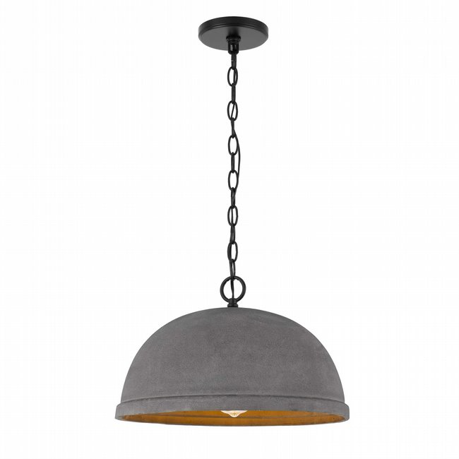 Remington 1-Light Black Finish Concrete Grey Shade Pendant 15.88D X 10H