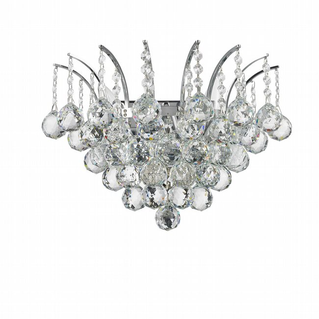 W23014C16 Empire 3 Light Chrome Finish and Clear Crystal Wall Sconce Light