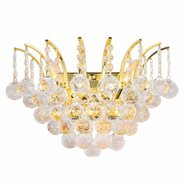 W23014G16 Empire 3 Light Gold Finish and Clear Crystal Wall Sconce Light