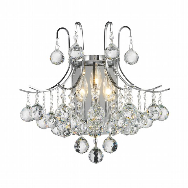 W23016C16 Empire 3 light Chrome Finish and Clear Crystal Wall Sconce