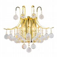 W23016G16 Empire 3 Light Gold Finish and Clear Crystal Wall Sconce Light