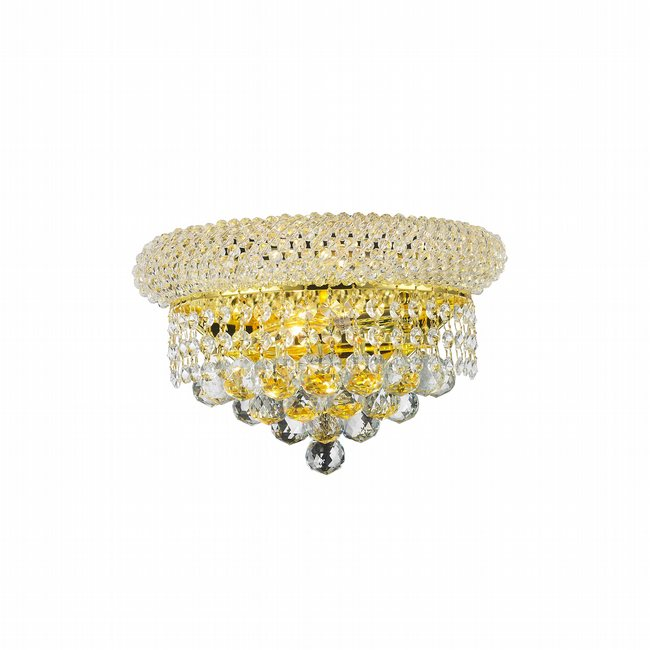 W23018G12 Empire 2 Light Gold Finish and Clear Crystal Wall Sconce Light