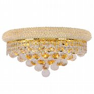 W23018G16 Empire 3 Light Gold Finish and Clear Crystal Wall Sconce Light