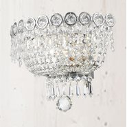 W23020C12 Empire 2 light Chrome Finish and Clear Crystal Wall Sconce