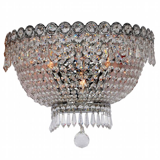 W23020C16 Empire 3 light Chrome Finish and Clear Crystal Wall Sconce