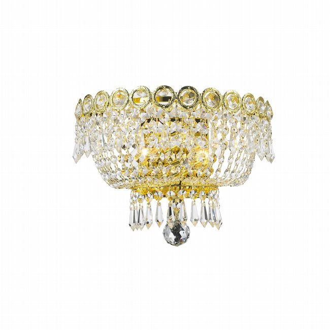 W23020G12 Empire 2 light Gold Finish with Clear Crystal Wall Sconce