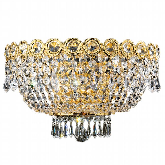 W23020G16 Empire 3 Light Gold Finish and Clear Crystal Wall Sconce Light
