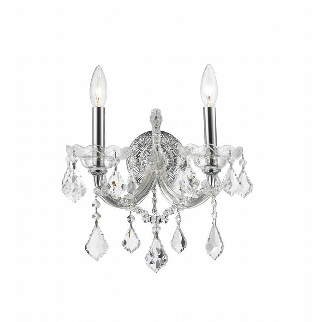 W23070C12 Maria Theresa 2 Light Chrome Finish and Clear Crystal Candle Wall Sconce Light