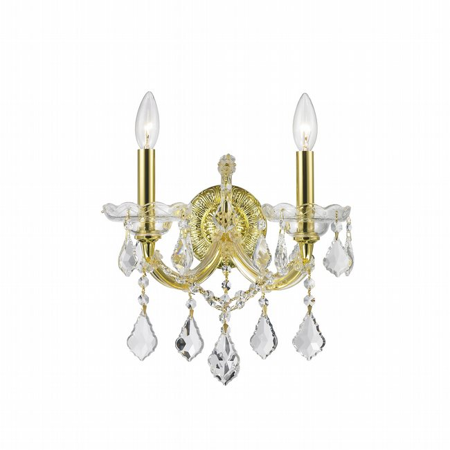 W23070G12 Maria Theresa 2 Light Gold Finish and Clear Crystal Candle Wall Sconce Light