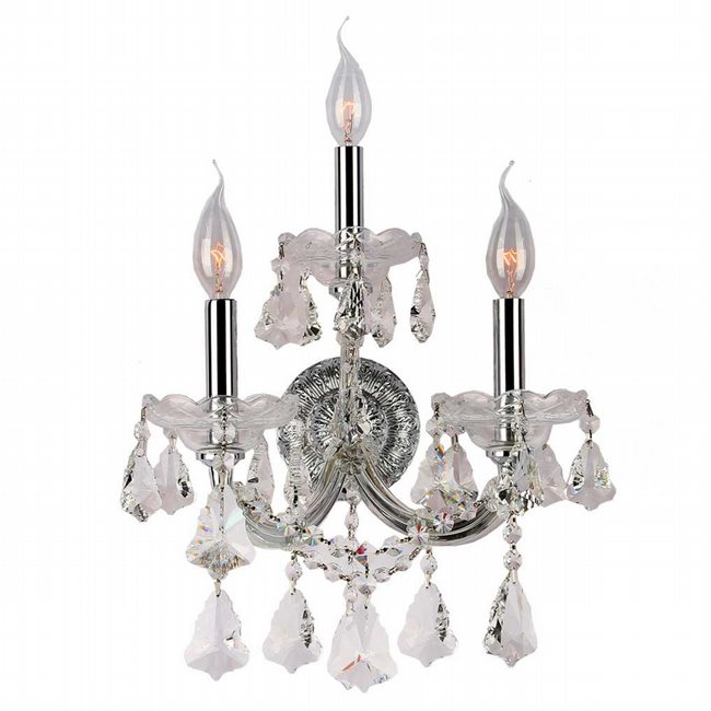 W23071C12 Maria Theresa 3 Light Chrome Finish and Clear Crystal Candle Wall Sconce Light