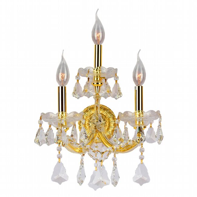 W23071G12 Maria Theresa 3 Light Gold Finish and Clear Crystal Candle Wall Sconce Light