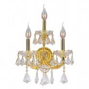 Maria Theresa Collection 3 Light Gold Finish and Clear Crystal Candle Wall Sconce Light