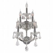 W23072C12 Maria Theresa 5 Light Chrome Finish and Clear Crystal Candle Wall Sconce Light