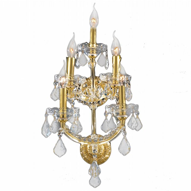 W23072G12 Maria Theresa 5 Light Gold Finish and Clear Crystal Candle Wall Sconce Light