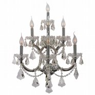 W23073C22 Maria Theresa 7 Light Chrome Finish and Clear Crystal Candle Wall Sconce Light