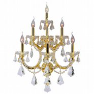 W23073G22 Maria Theresa 7 Light Gold Finish and Clear Crystal Candle Wall Sconce Light