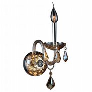 W23101C4-AM Provence 1 Light Chrome Finish and Amber Crystal Candle Wall Sconce Light