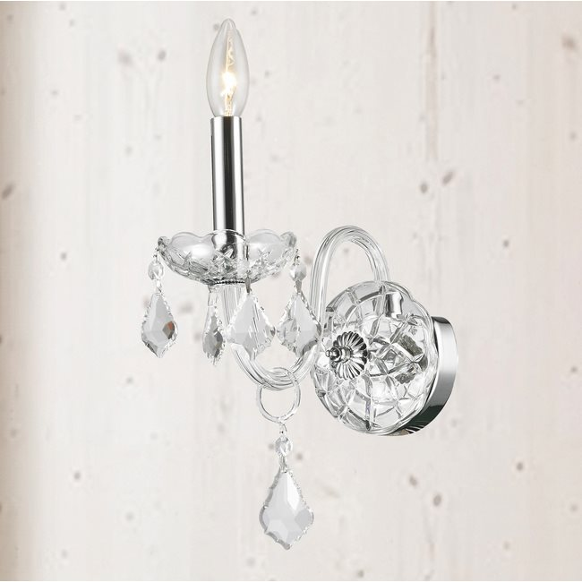 W23101C4-CL Provence 1 Light Chrome Finish and Clear Crystal Wall Sconce Light