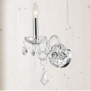 Provence 1 Light Chrome Finish and Clear Crystal Wall Sconce Light