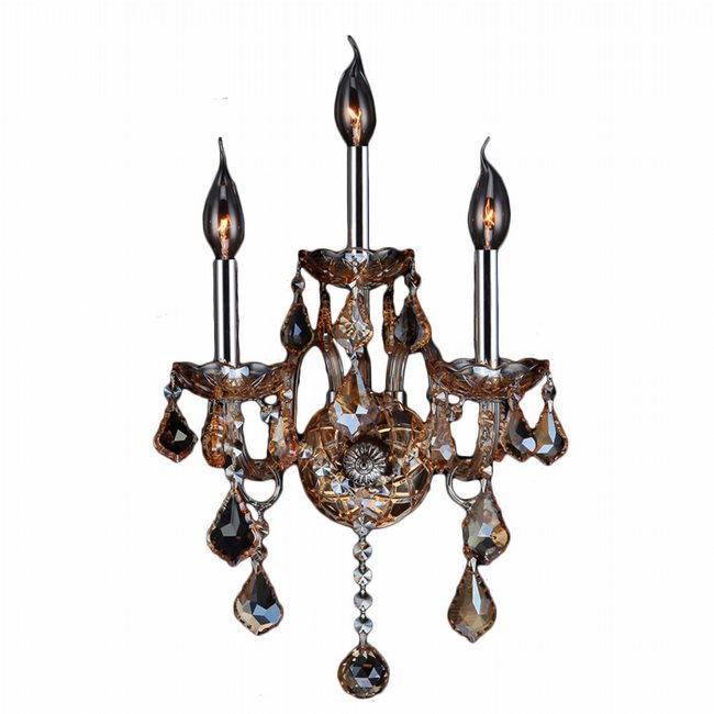 W23103C13-AM Provence 3 Light Chrome Finish and Amber Crystal Wall Sconce Light