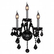W23103C13-BL Provence 3 light Chrome Finish with Black Crystal Wall Sconce