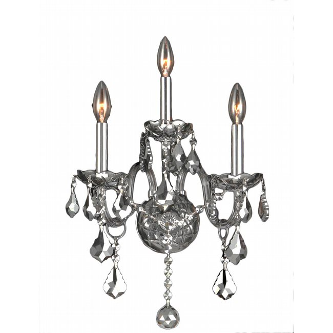 W23103C13-CH Provence 3 Light Chrome Finish and Chrome Crystal Wall Sconce Light