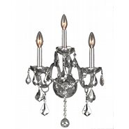 Provence 3 Light Chrome Finish and Chrome Crystal Wall Sconce Light