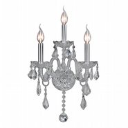 W23103C13-CR Provence 3 Light Chrome Finish and Clear Crystal Candle Wall Sconce Light