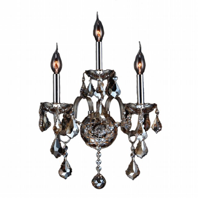 W23103C13-GT Provence 3 Light Chrome Finish and Golden Teak Crystal Candle Wall Sconce Light