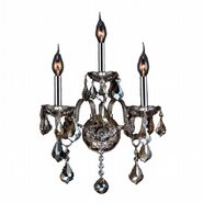 Provence Collection 3 Light Chrome Finish and Golden Teak Crystal Candle Wall Sconce Light