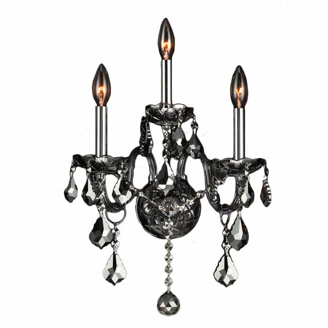 W23103c13 sm provence 3 light chrome finish and smoke crystal wall w23103c13 sm provence 3 light chrome finish and smoke crystal wall sconce light aloadofball Gallery