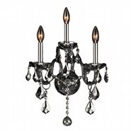 Provence 3 Light Chrome Finish and Smoke Crystal Wall Sconce Light