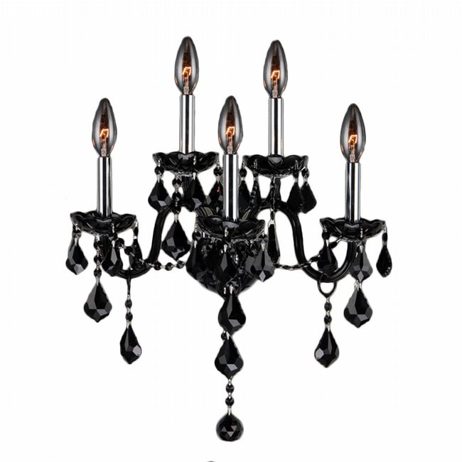 W23105C13-BL Provence 5 Light Chrome Finish and Black Crystal Wall Sconce Light - Discontinued
