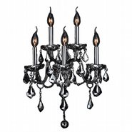 Provence Collection 5 Light Chrome Finish and Chrome Crystal Candle Wall Sconce Light