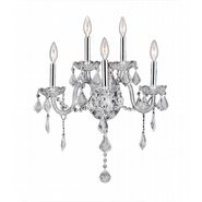 W23105C13-CL Provence 5 Light Chrome Finish and Clear Crystal Candle Wall Sconce Light