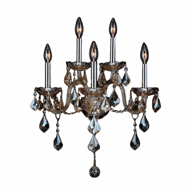 W23105C13-GT Provence 5 Light Chrome Finish and Golden Teak Crystal Wall Sconce Light