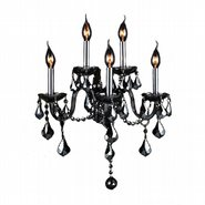 W23105C13-SM Provence 5 Light Chrome Finish and Smoke Crystal Wall Sconce Light - Discontinued