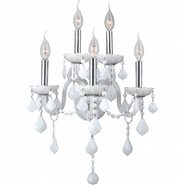 Provence Collection 5 Light Chrome Finish and White Crystal Candle Wall Sconce Light