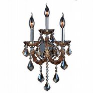 W23113C12-AM Lyre 3 Light Chrome Finish and Amber Crystal Candle Wall Sconce Light