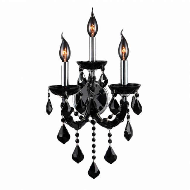 W23113C12-BL Lyre 3 Light Chrome Finish and Black Crystal Wall Sconce Light - Discontinued