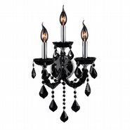 W23113C12-BL Lyre 3 Light Chrome Finish and Black Crystal Wall Sconce Light