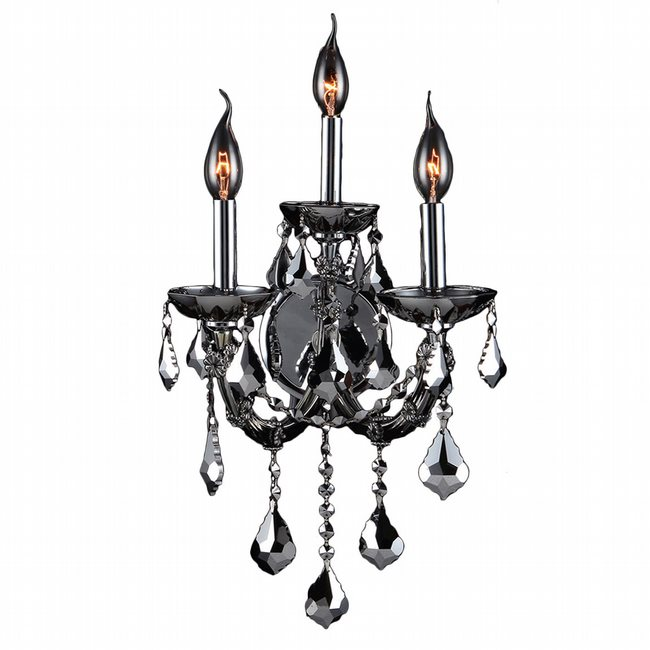 W23113C12-CH Lyre 3 Light Chrome Finish and Chrome Crystal Candle Wall Sconce Light