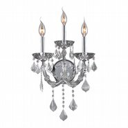 W23113C12-CL Lyre 3 Light Chrome Finish and Clear Crystal Wall Sconce Light